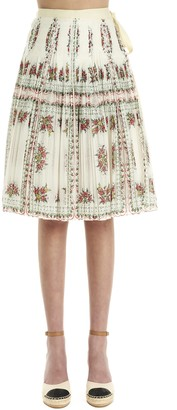 Tory Burch Floral Print Pleated Skirt