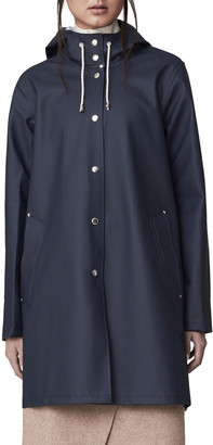 Stutterheim Mosebacke Rubberized Raincoat, Light Navy