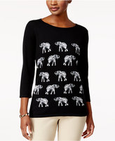 Karen Scott Elephant Graphic Sweater, Created for Macy's
