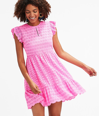Vineyard Vines Allamanda Floral Eyelet Flutter Sleeve Dress
