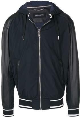 Dolce & Gabbana leather sleeve hooded jacket