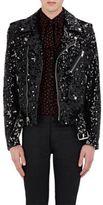 Saint Laurent Men's Sequin-Embellished Leather Moto Jacket-BLACK