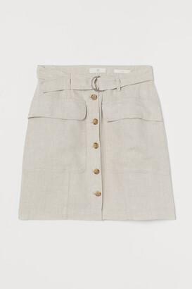 H&M Linen utility skirt