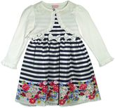 Nannette Baby Girl Striped Floral Dress & Shrug Set