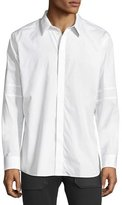 Givenchy Long-Sleeve Sport Shirt with Tonal Star & Armband, White