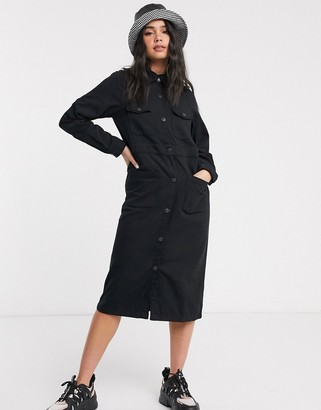 Monki button through utility shirt dress in black