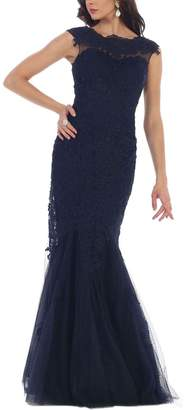Royal Queen Women's Special Occasion Dresses Navy - Navy Lace Mermaid-Hem Gown - Women