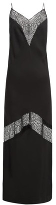 Marina Moscone Lace-insert Satin Slip Dress - Black