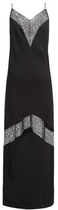Marina Moscone - Lace Insert Satin Slip Dress - Womens - Black