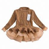 WEONEDREAM Little Girls Winter Sweater Long Sleeves Kids Princess Tutu Dresses