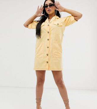 Asos DESIGN Petite chuck on utility mini shirt dress with contrast stitch
