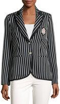 Veronica Beard Spirit Striped Pique Blazer, Black/Blue
