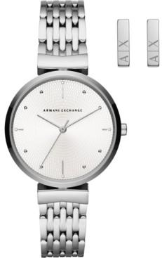 AX Armani Exchange Women's Zoe Stainless Steel Bracelet Watch 36mm Gift Set