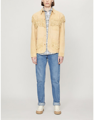 Polo Ralph Lauren Fringed relaxed-fit tapered-sleeve leather jacket
