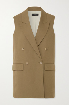 Joseph Double-breasted Cotton And Linen-blend Vest - Army green
