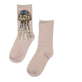 Laines London Pink Glitter Socks With Crystal Jellyfish Brooch