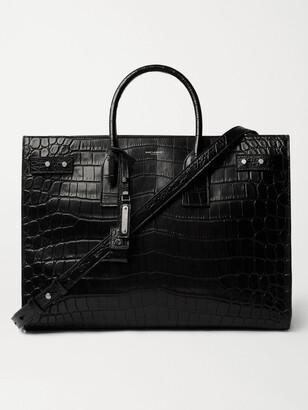Saint Laurent Croc-Effect Leather Tote Bag