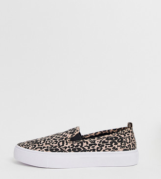 Dexter Asos Design ASOS DESIGN Wide Fit slip on plimsolls in leopard-Multi