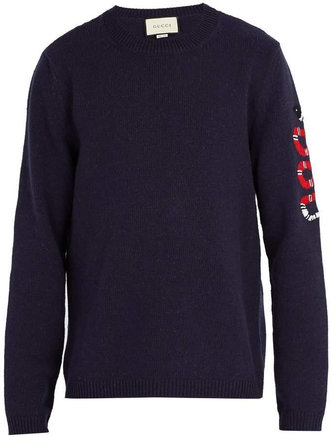 Gucci Kingsnake-intarsia wool sweater