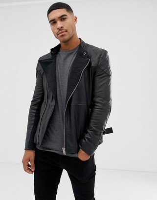 Bolongaro Trevor quilted leather biker jacket-Black