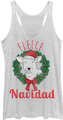 Fifth Sun Women's Tank Tops WHITE - White 'Fleece Navidad' Lamb in Wreath Tank - Women & Juniors