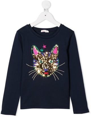 Billieblush Sequin Cat Long-Sleeve Shirt