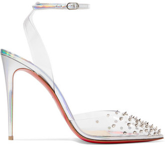 Christian Louboutin Spikoo 100 Spiked Pvc And Iridescent Leather Pumps - Metallic