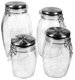 Hermetic Faceted Storage Jars, Set of 4