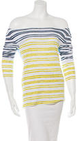 Tory Burch Striped Bateau Neck Top