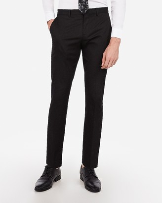 Express Slim Black Cotton Sateen Stretch Suit Pant