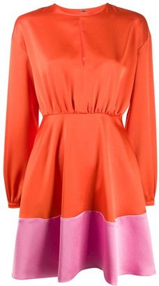 MSGM Contrast-Hem Satin Mini Dress