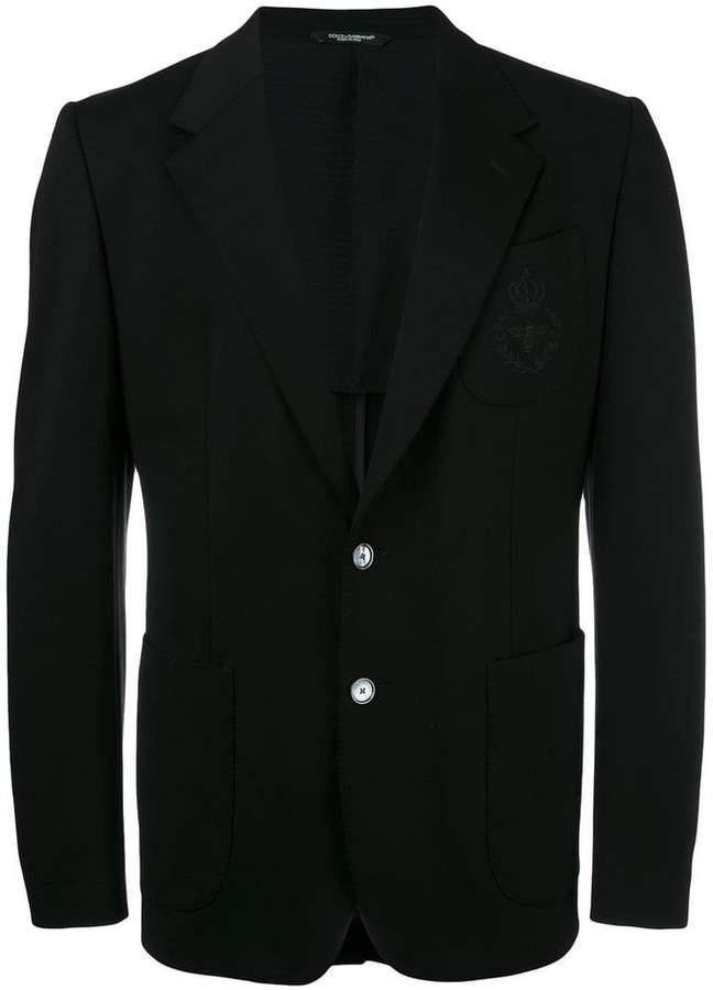 Dolce & Gabbana bee & crown embroidered blazer