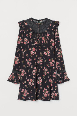 H&M Lace-detail Dress - Black