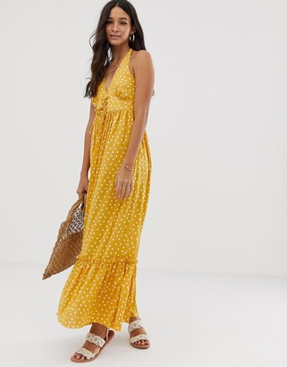 Asos DESIGN halter maxi dress with lace up in polka dot