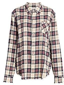 R 13 Women's Shredded Seam Plaid Shirt