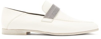 Brunello Cucinelli Embellished-bar Leather Loafers - Womens - Cream