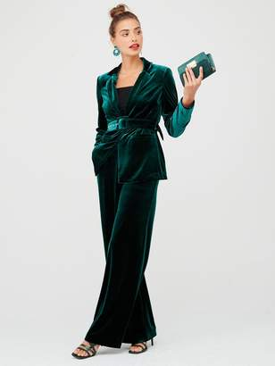 Very Wide Leg Velvet Trouser -Forest Green