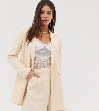 Asos Tall ASOS DESIGN Tall linen suit blazer in buttermilk