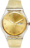 Swatch Women's Swiss Golden Sparkle Gold-Tone Glitter Semi-Transparent Silicone Strap Watch 41mm SUOK704