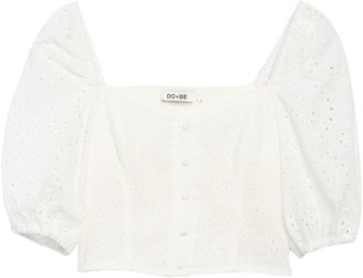 Do & Be Eyelet Puff Sleeve Button Crop Top