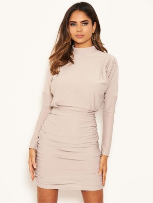 AX Paris High Neck Ruched Bodycon Dress - Silver
