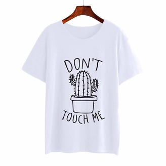 Weant Women T Shirts Weant Women T-Shirts Plus Size Summer Short Sleeve Letter Cactus Print Casual Loose Tunic Tee Shirts Blouse Tops for Ladies Teen Girls Pullover Sweatshirt Jumper Womens Clothes Sale Clearance White
