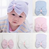 Melondipity Baby Hats Melondipity So Sweet Pink & White Striped Big Bow & Ribbon Girl Hospital Hat