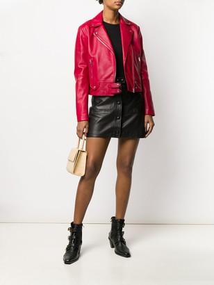 Pinko Leather Zipped Biker Jacket
