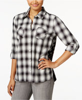 Style&Co. Style & Co Petite Paisley-Back Plaid Shirt, Only at Macy's