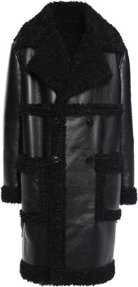 Ainea Faux Fur-trimmed Faux Textured-leather Coat
