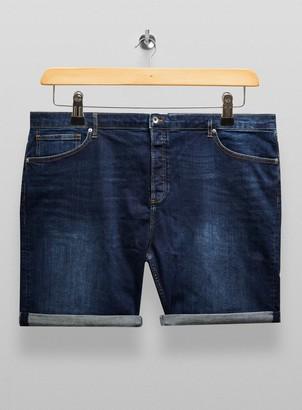 Topman BIG Indigo Denim Skinny Shorts