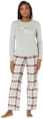 Lauren Ralph Lauren Long Sleeve Knit Top Long Pants Pajamas w/ Applique (Grey Plaid) Women's Pajama Sets