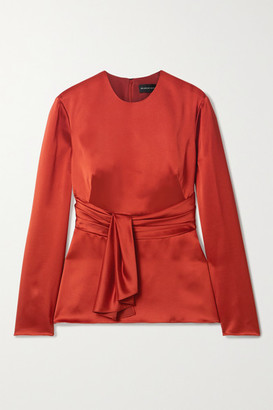 Brandon Maxwell Tie-front Silk-satin Top - Brick