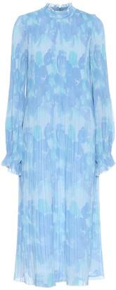 Ganni Floral pleated georgette dress